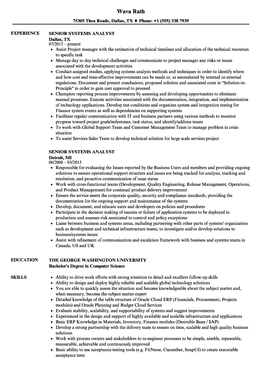 senior systems analyst resume samples