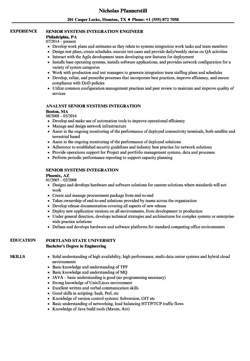 senior systems integration resume samples