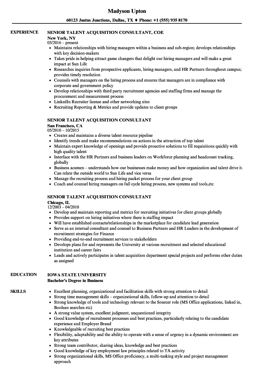 senior talent acquisition consultant resume samples