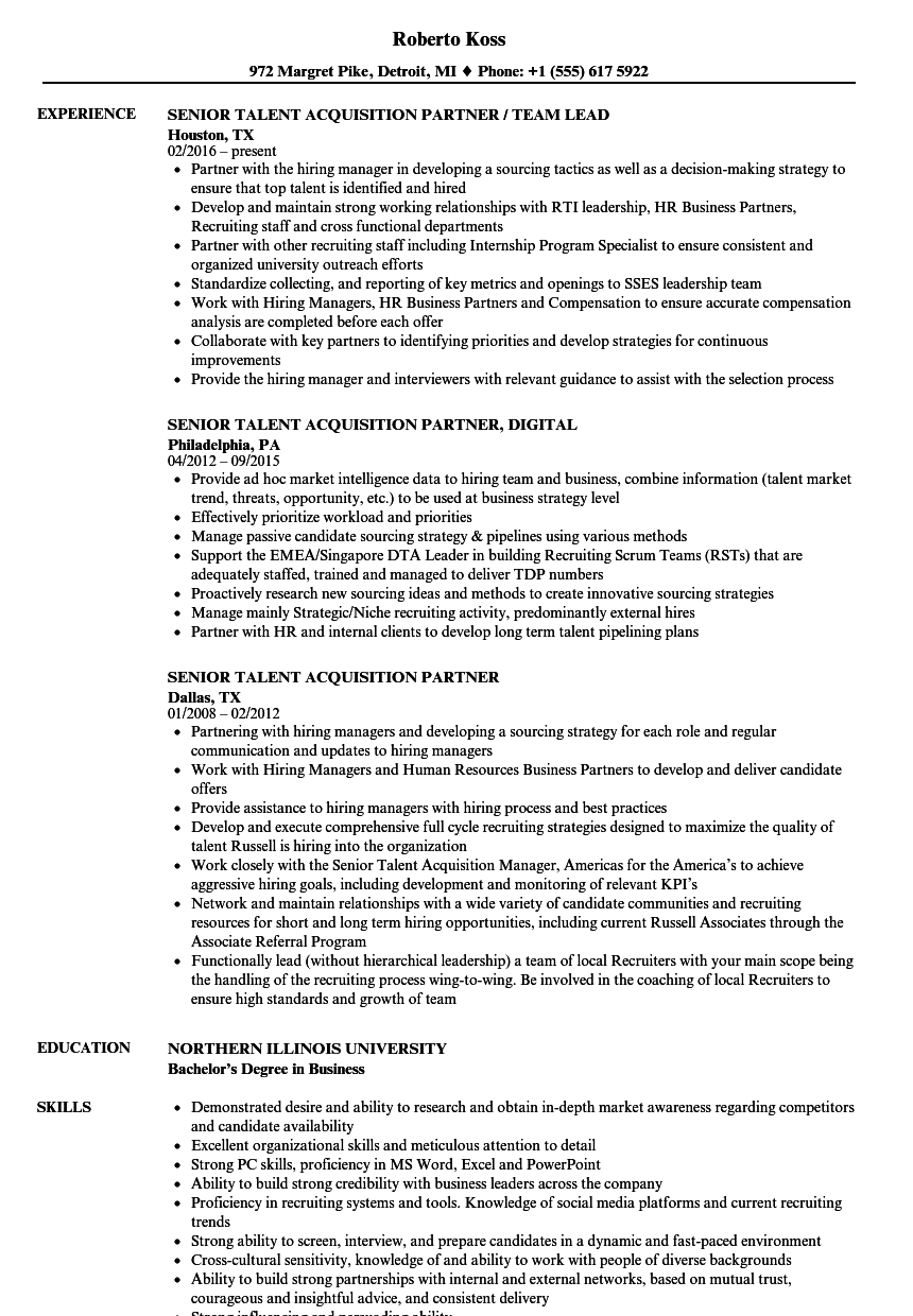 senior talent acquisition partner resume samples