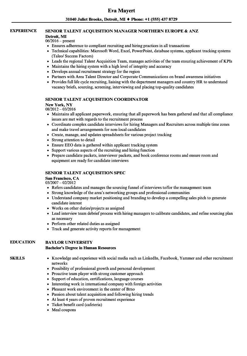 Download Senior Talent Acquisition Resume Sample As Image File