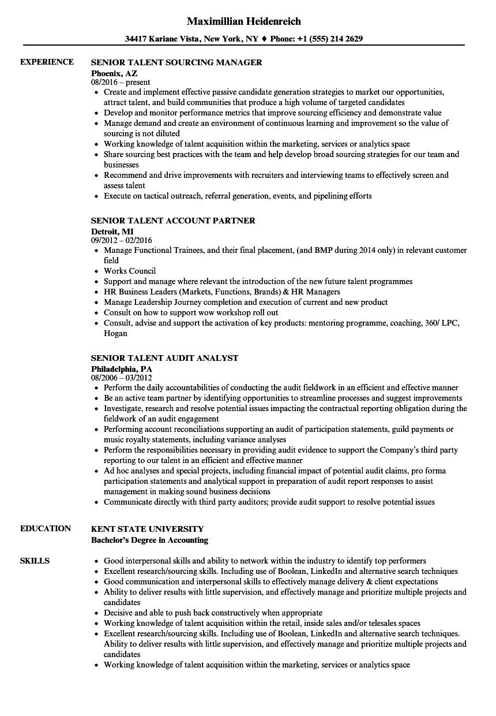 senior talent resume samples