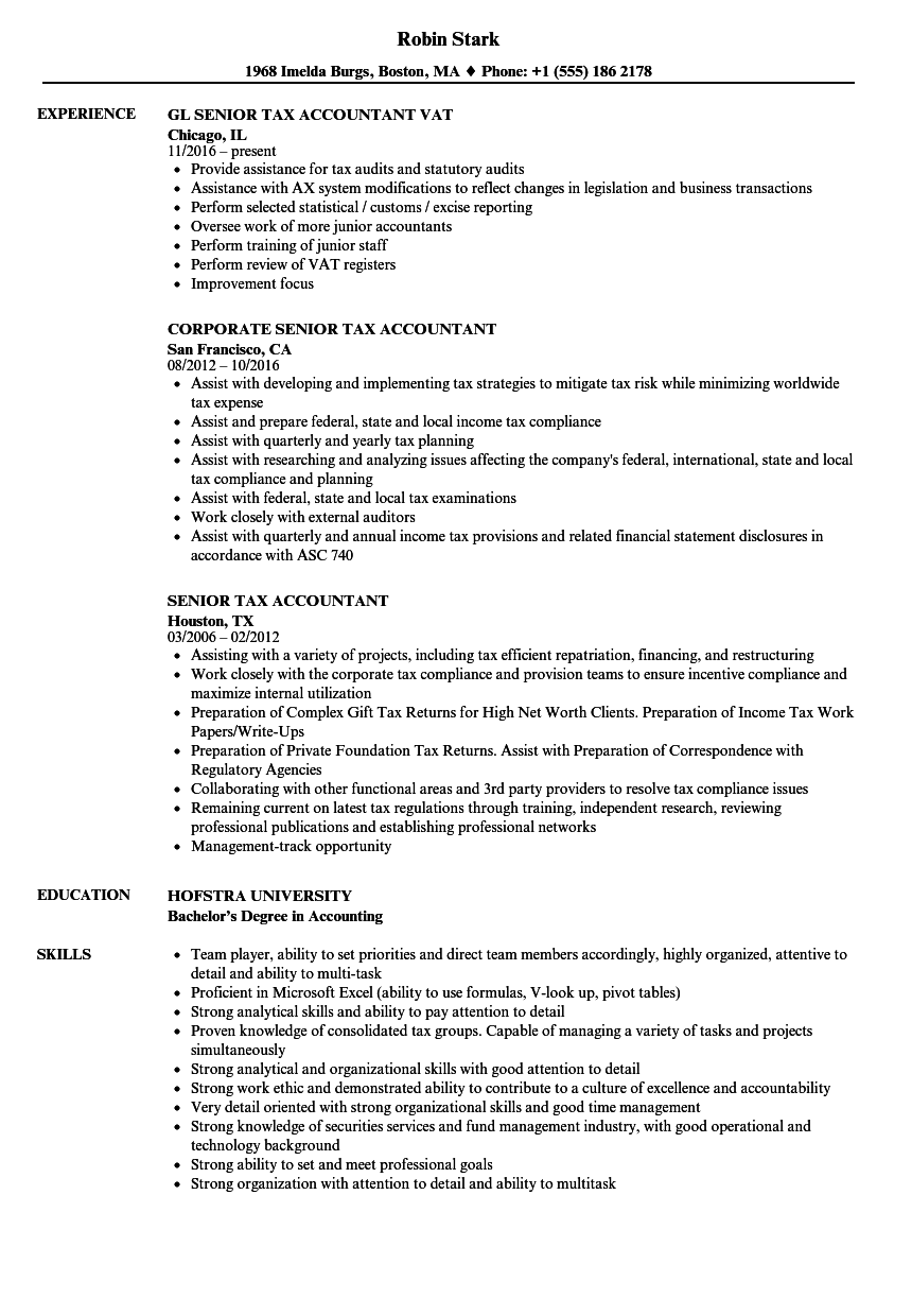 Senior Tax Accountant Resume Samples | Velvet Jobs