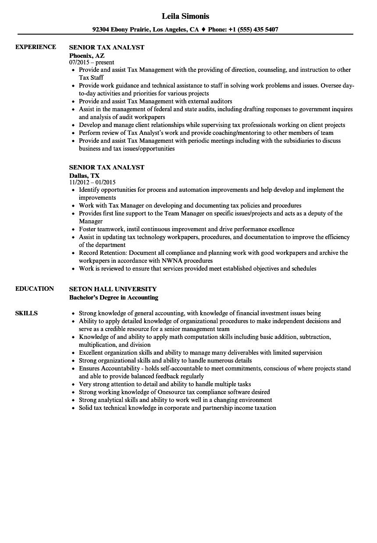 senior tax analyst resume samples