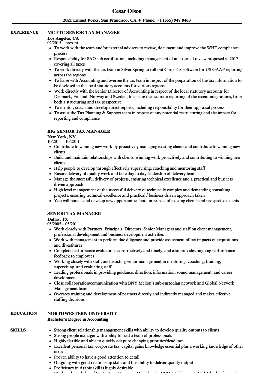 senior tax manager resume samples