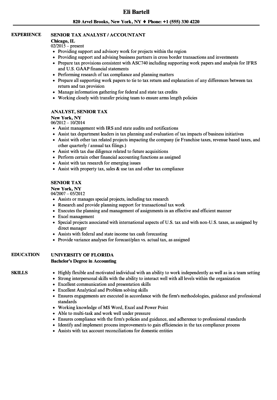 senior tax resume samples