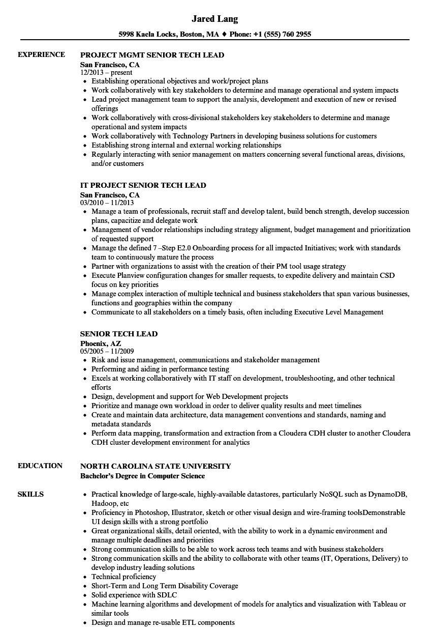 Related Job Titles Senior Technical Lead Resume Sample   Sample Resumes For  It Jobs  Technical Lead Resume