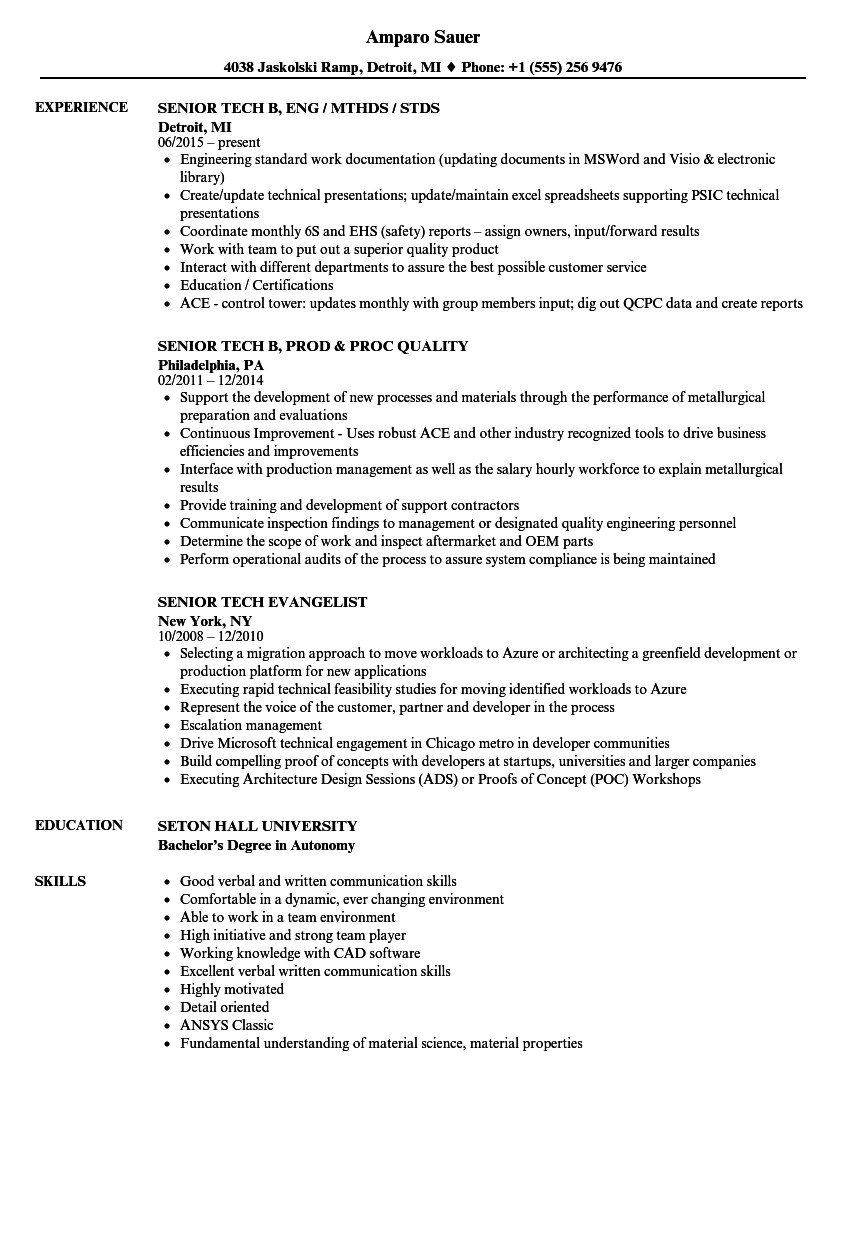 senior tech resume samples