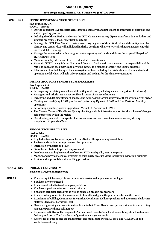 senior tech specialist resume samples