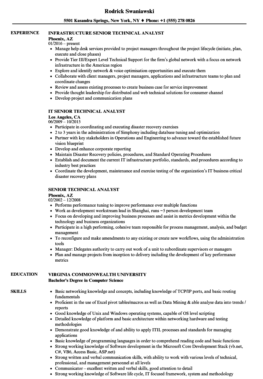 senior technical analyst resume samples