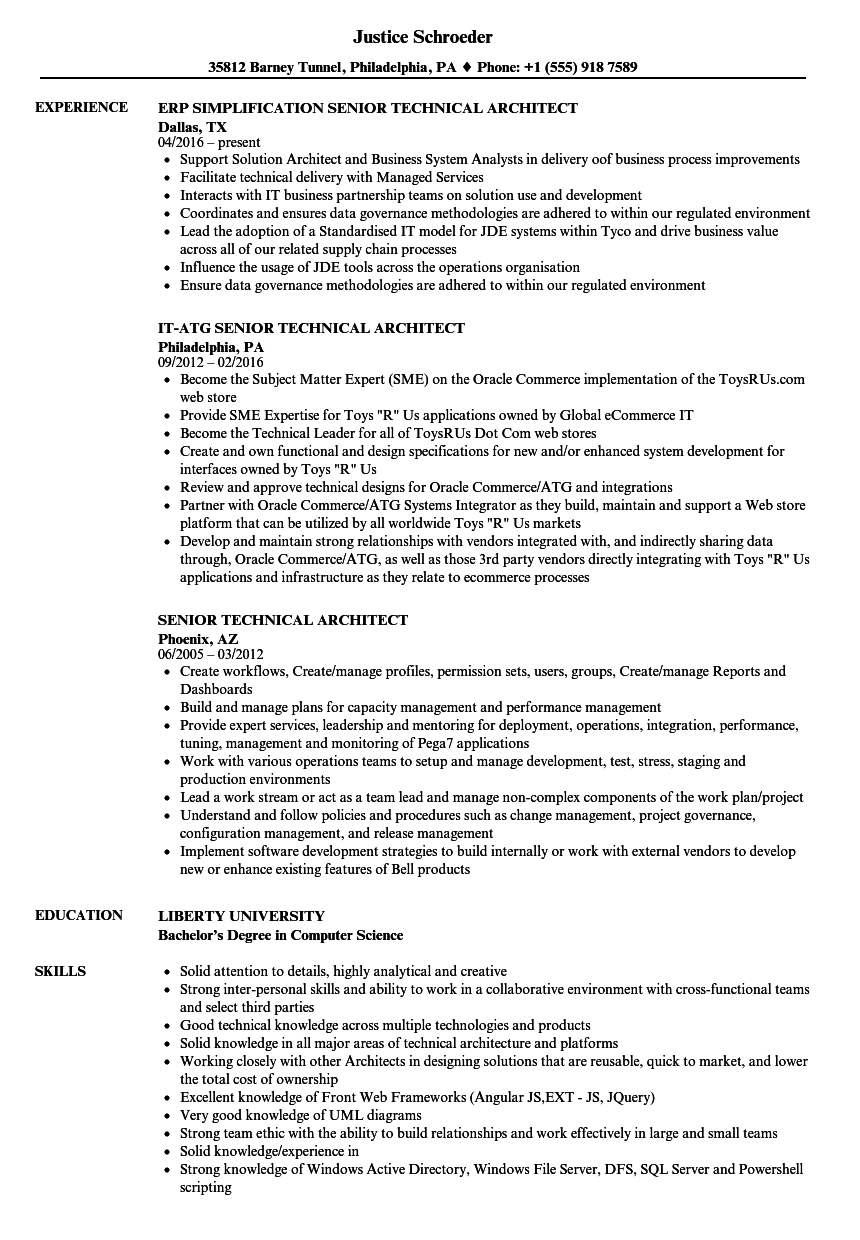 Senior Technical Architect Resume Samples | Velvet Jobs