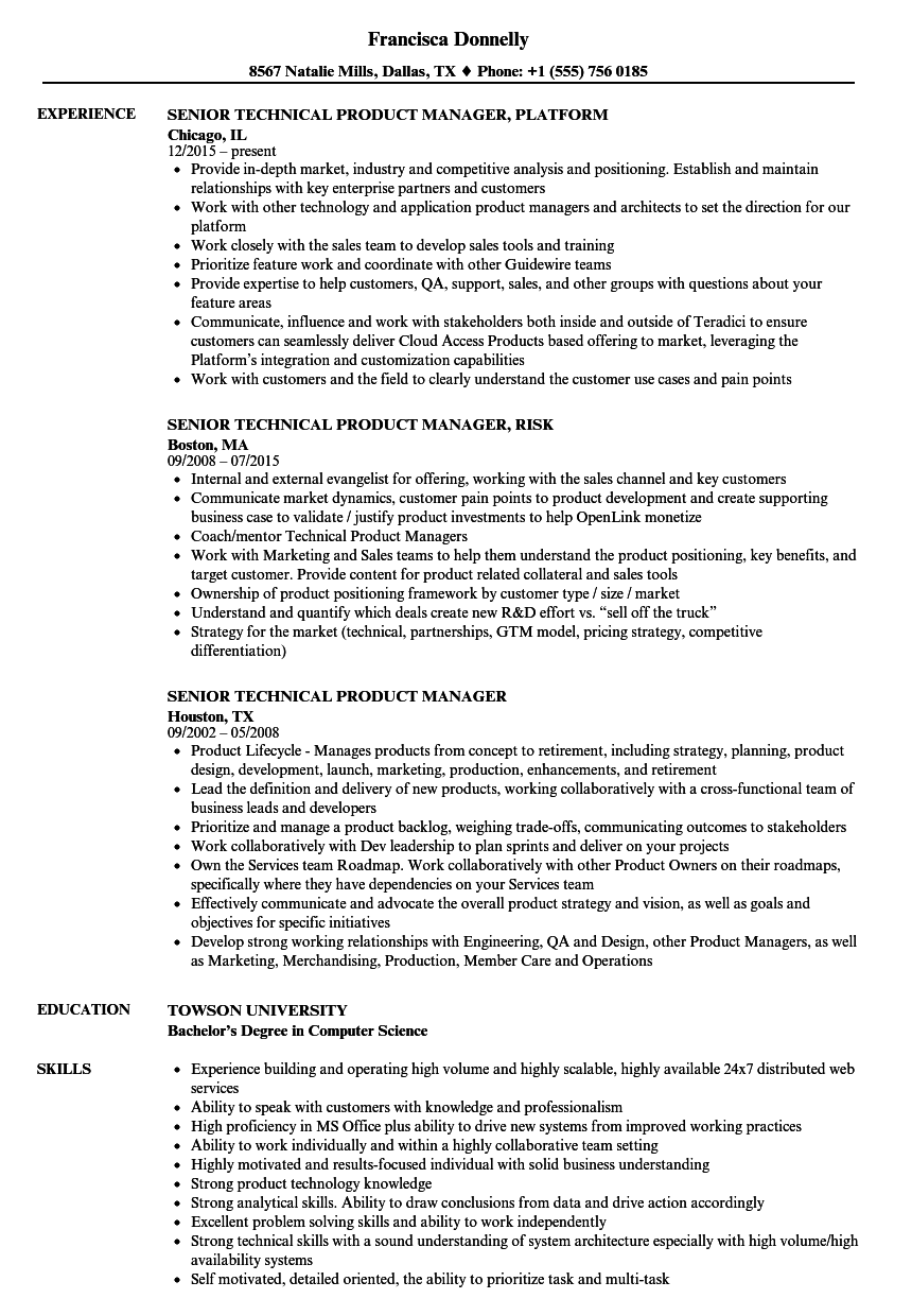 senior technical product manager resume samples