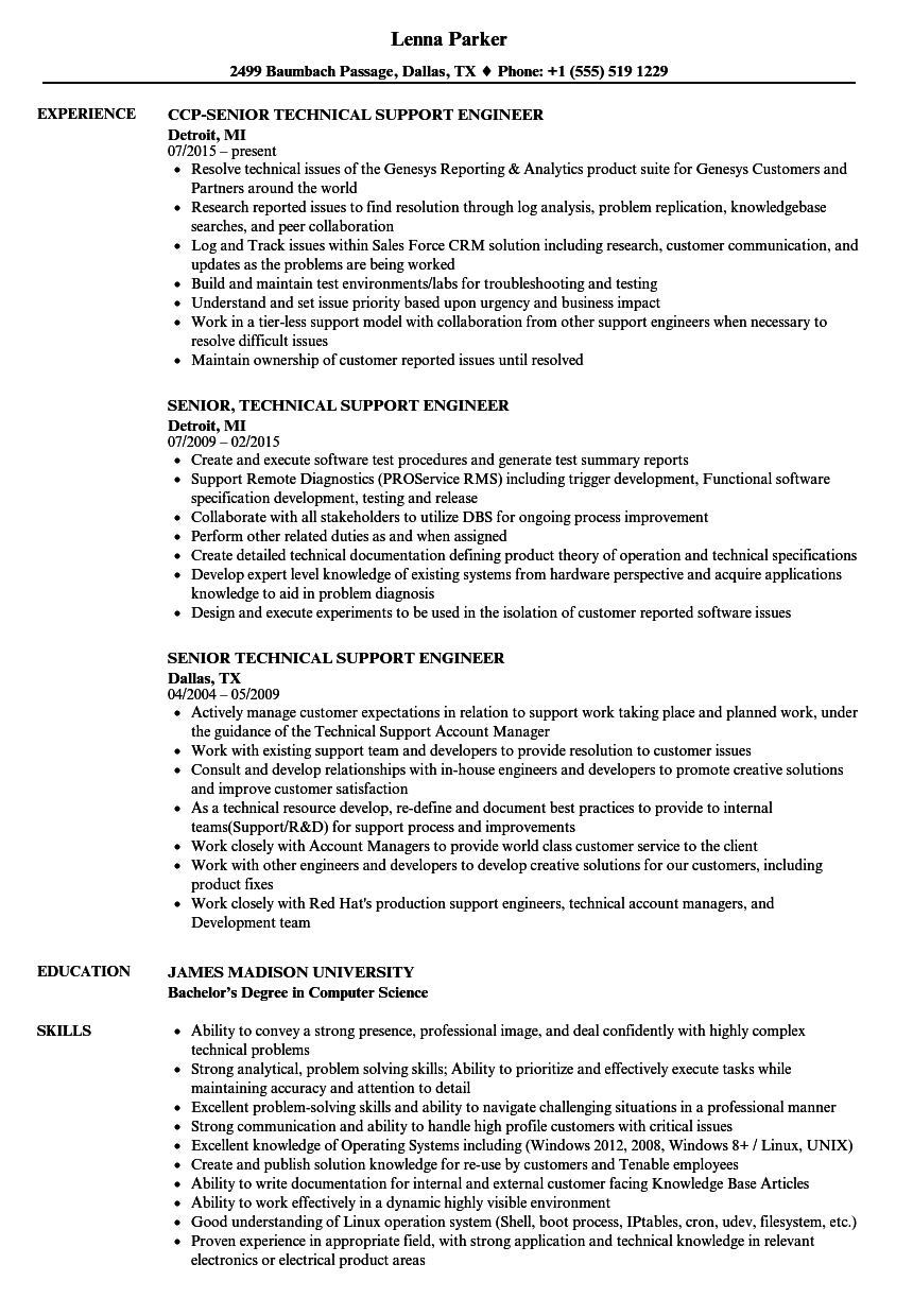 senior technical support engineer resume samples