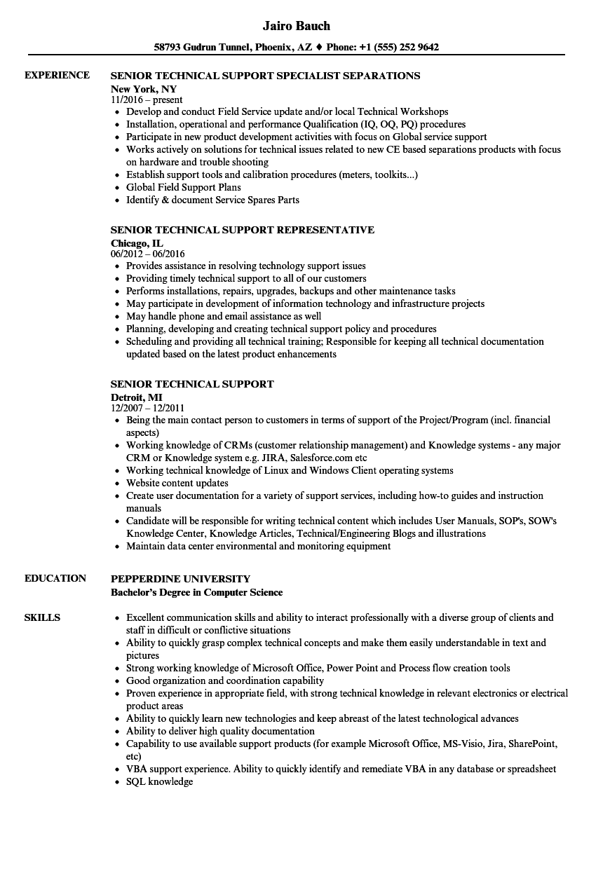 senior technical support resume samples