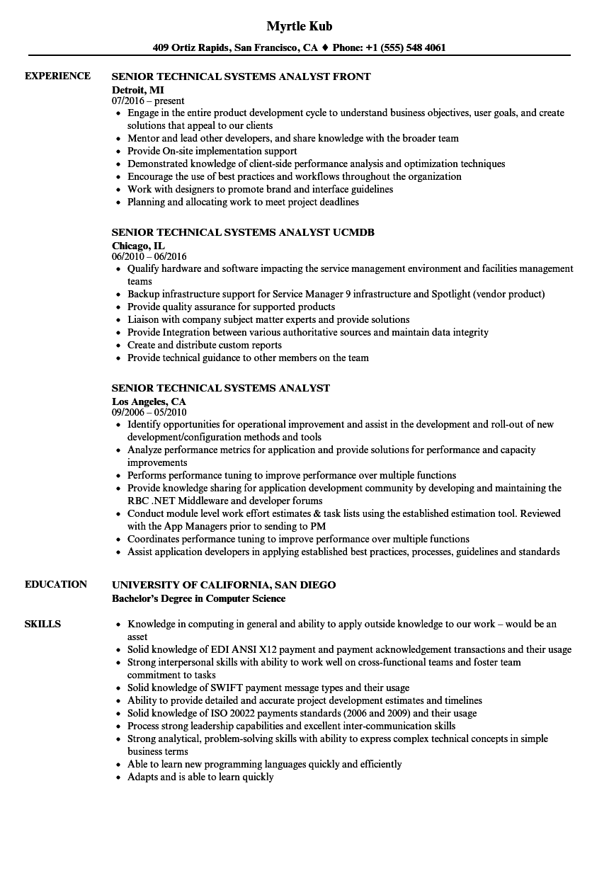 Download Senior Technical Systems Analyst Resume Sample As Image File