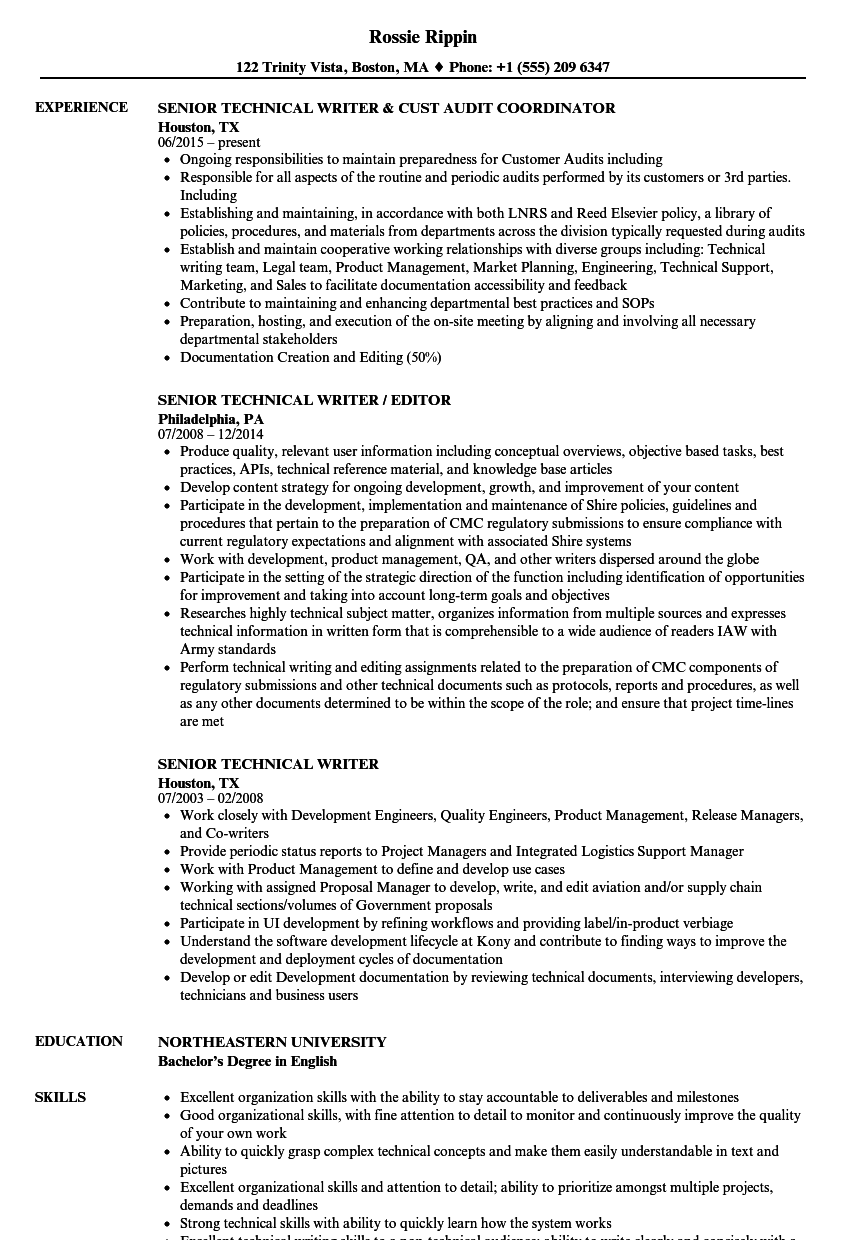 Senior Technical Writer Resume Samples | Velvet Jobs