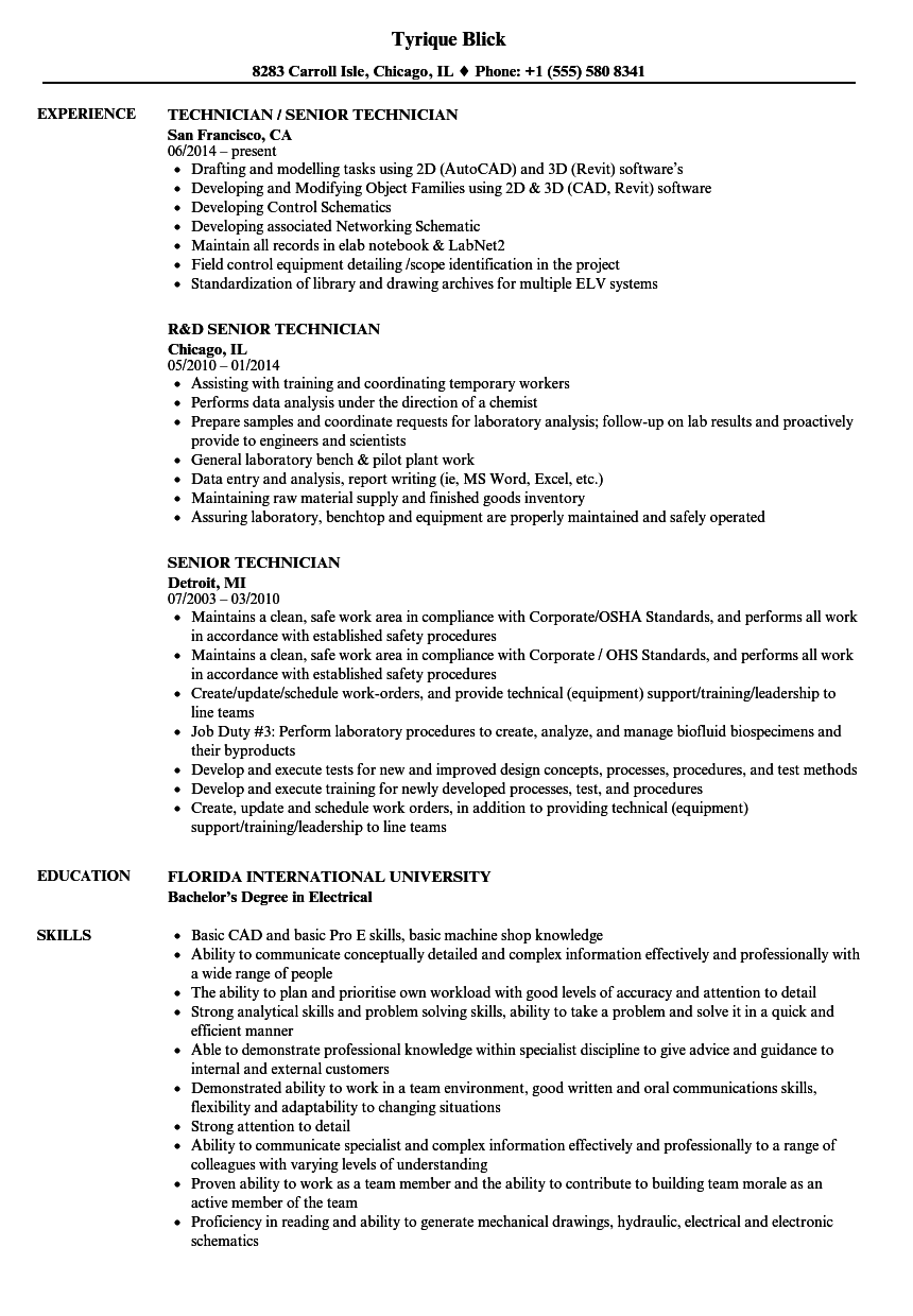Senior Technician Resume Samples | Velvet Jobs