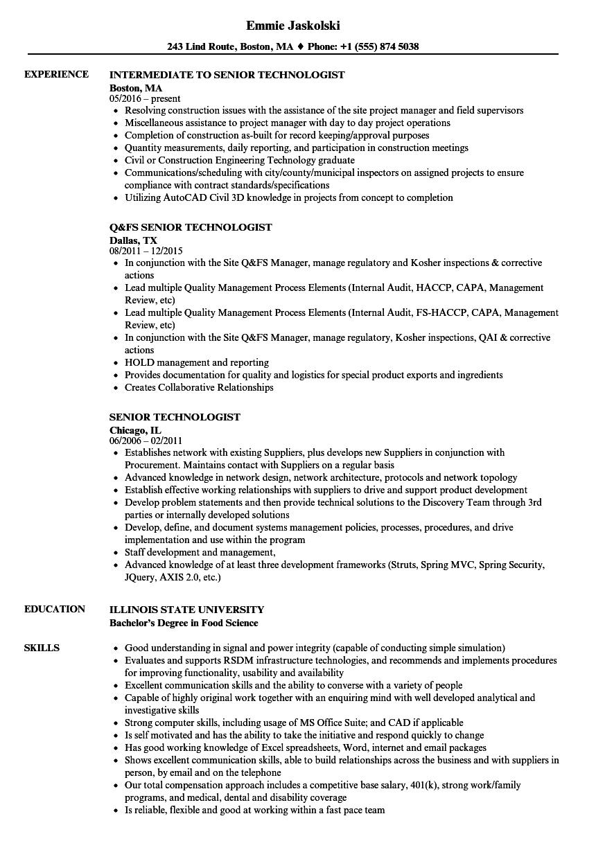 senior technologist resume samples velvet jobs