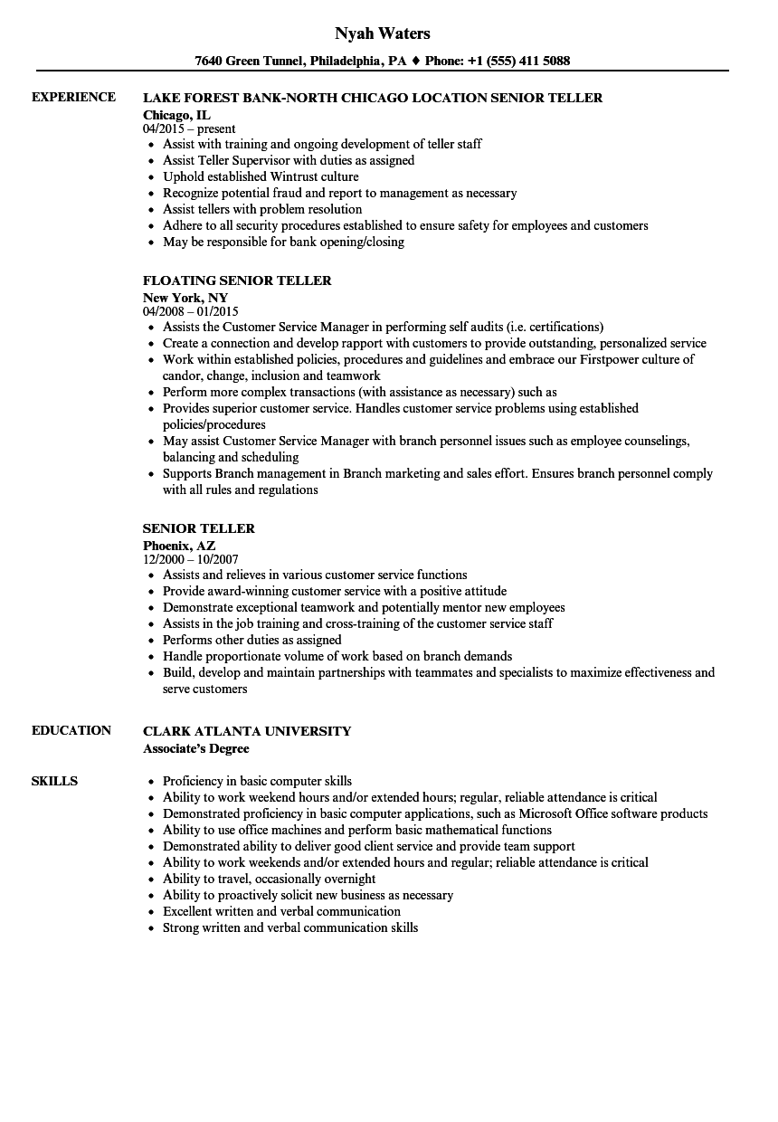 Senior Teller Resume Samples | Velvet Jobs