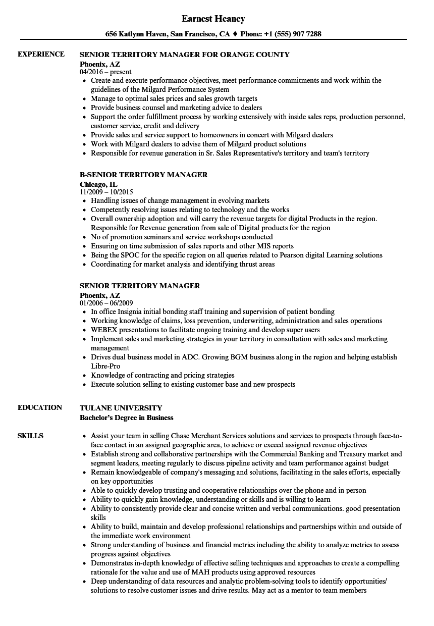 senior territory manager resume samples