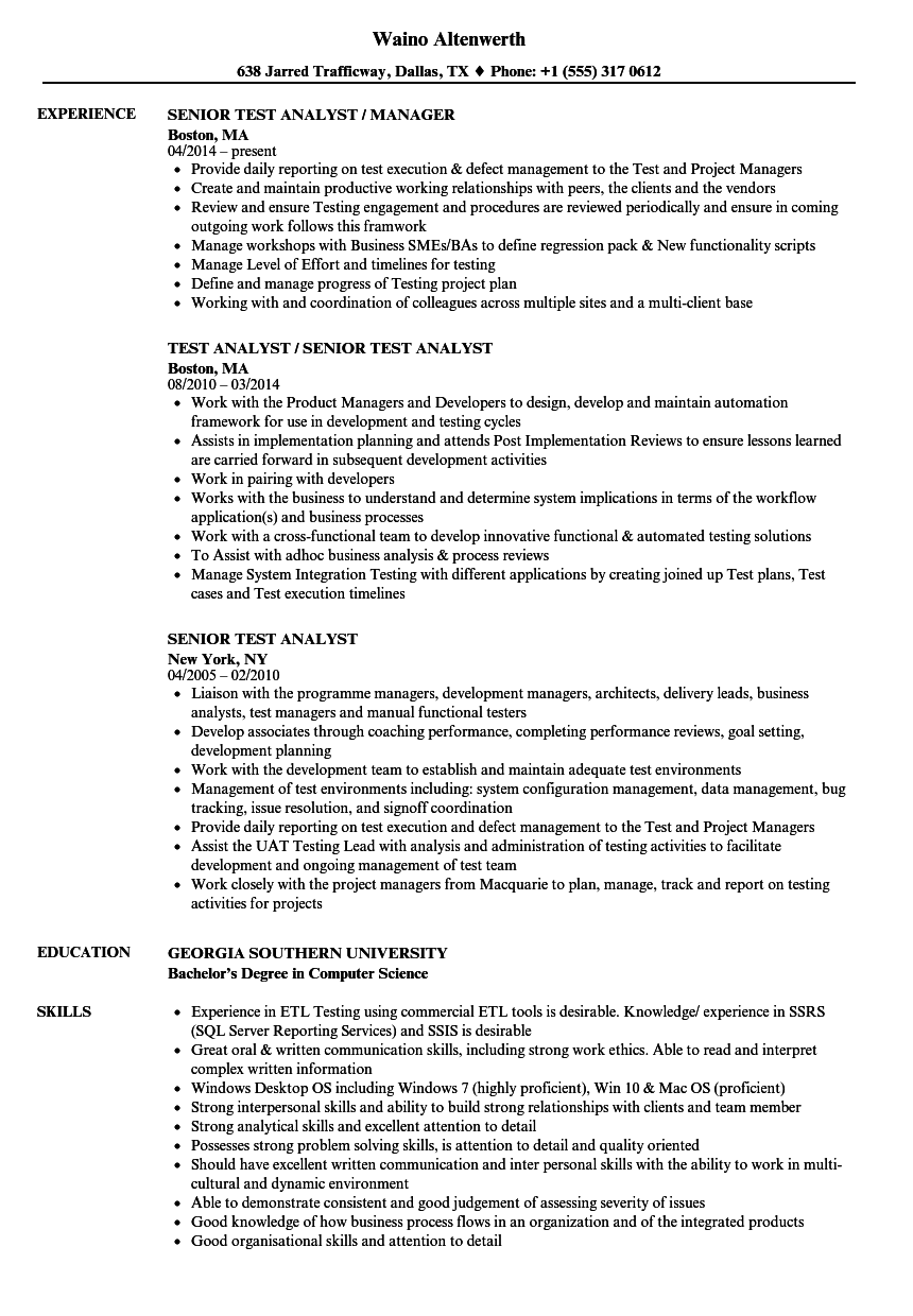 Senior Test Analyst Resume Samples | Velvet Jobs