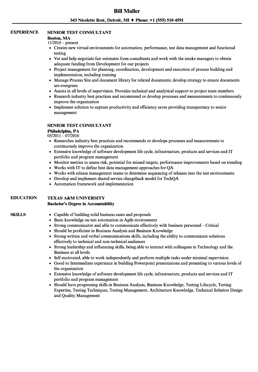 Download Senior Test Consultant Resume Sample As Image File