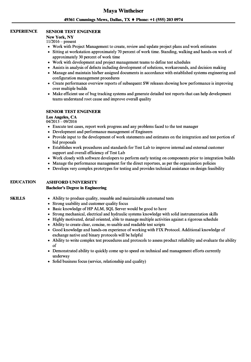 Senior Test Engineer Resume Samples | Velvet Jobs