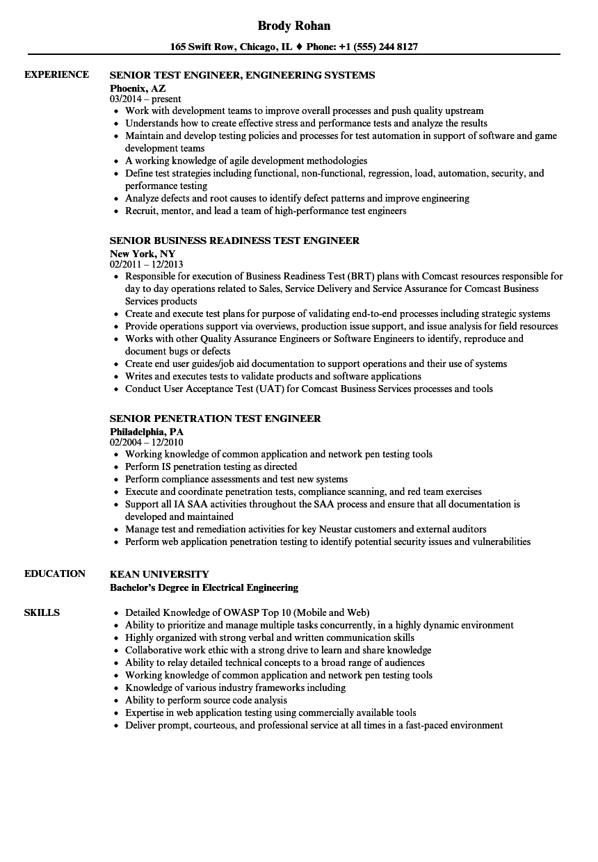 Senior Test Engineer / Test Engineer Resume Samples | Velvet Jobs
