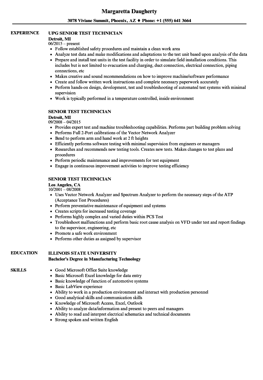 Senior Test Technician Resume Samples