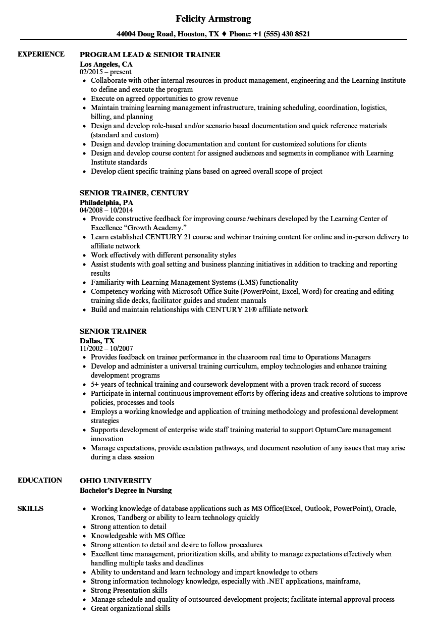 Download Senior Trainer Resume Sample As Image File