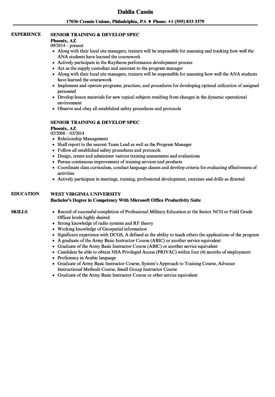 Senior Training   Develop Spec Resume Samples   Velvet Jobs
