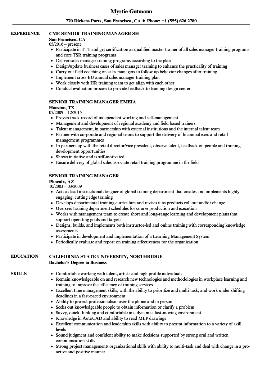senior training manager resume samples