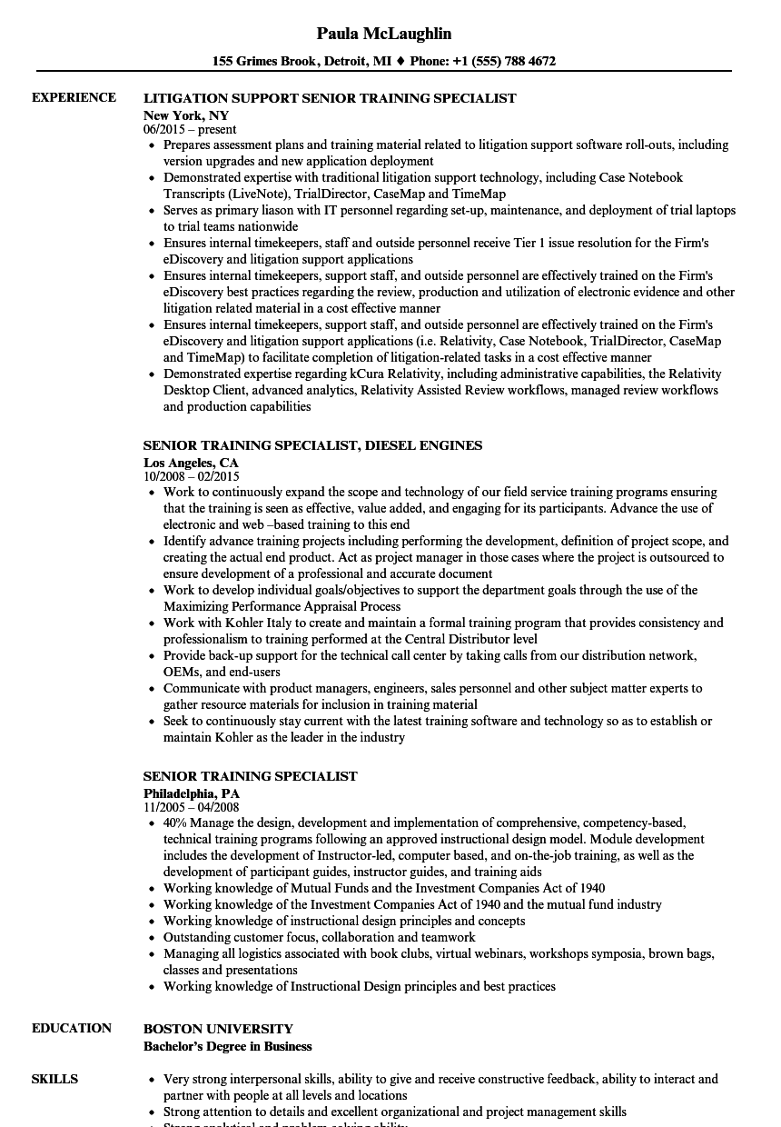 senior training specialist resume samples