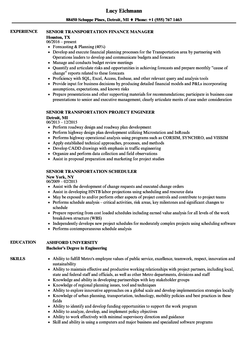 senior transportation resume samples