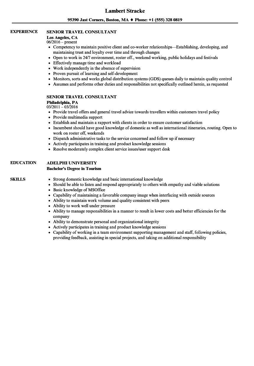 senior travel consultant resume samples