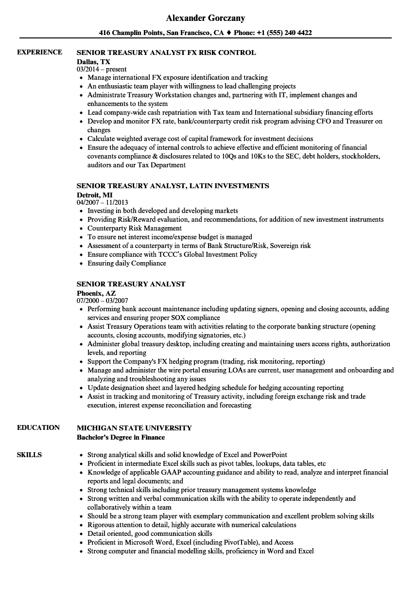 Senior Treasury Analyst Resume Samples | Velvet Jobs
