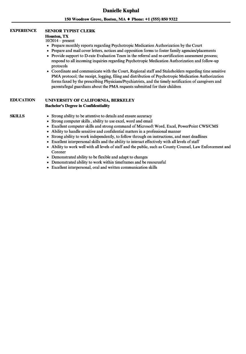Download Senior Typist Clerk Resume Sample As Image File