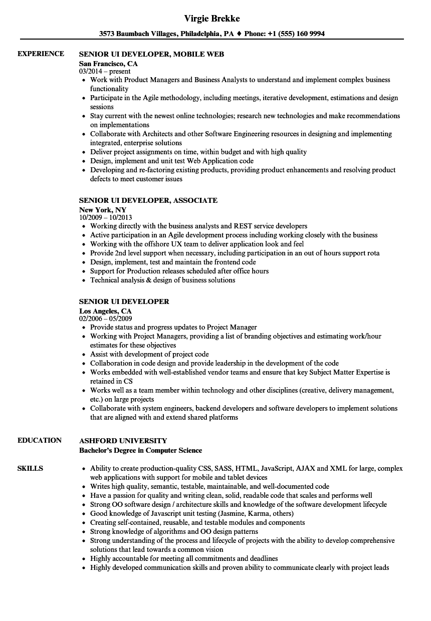 Senior UI Developer Resume Samples Velvet Jobs
