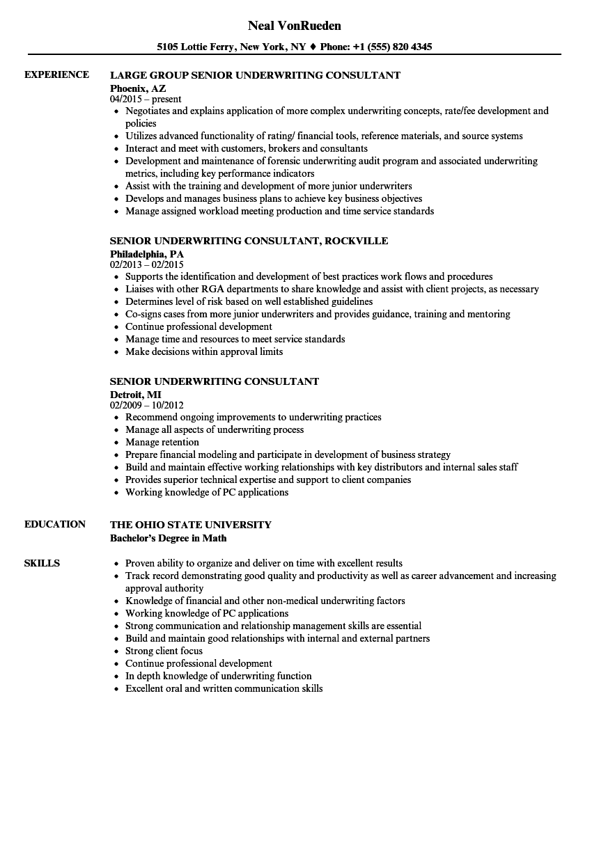 senior underwriting consultant resume samples