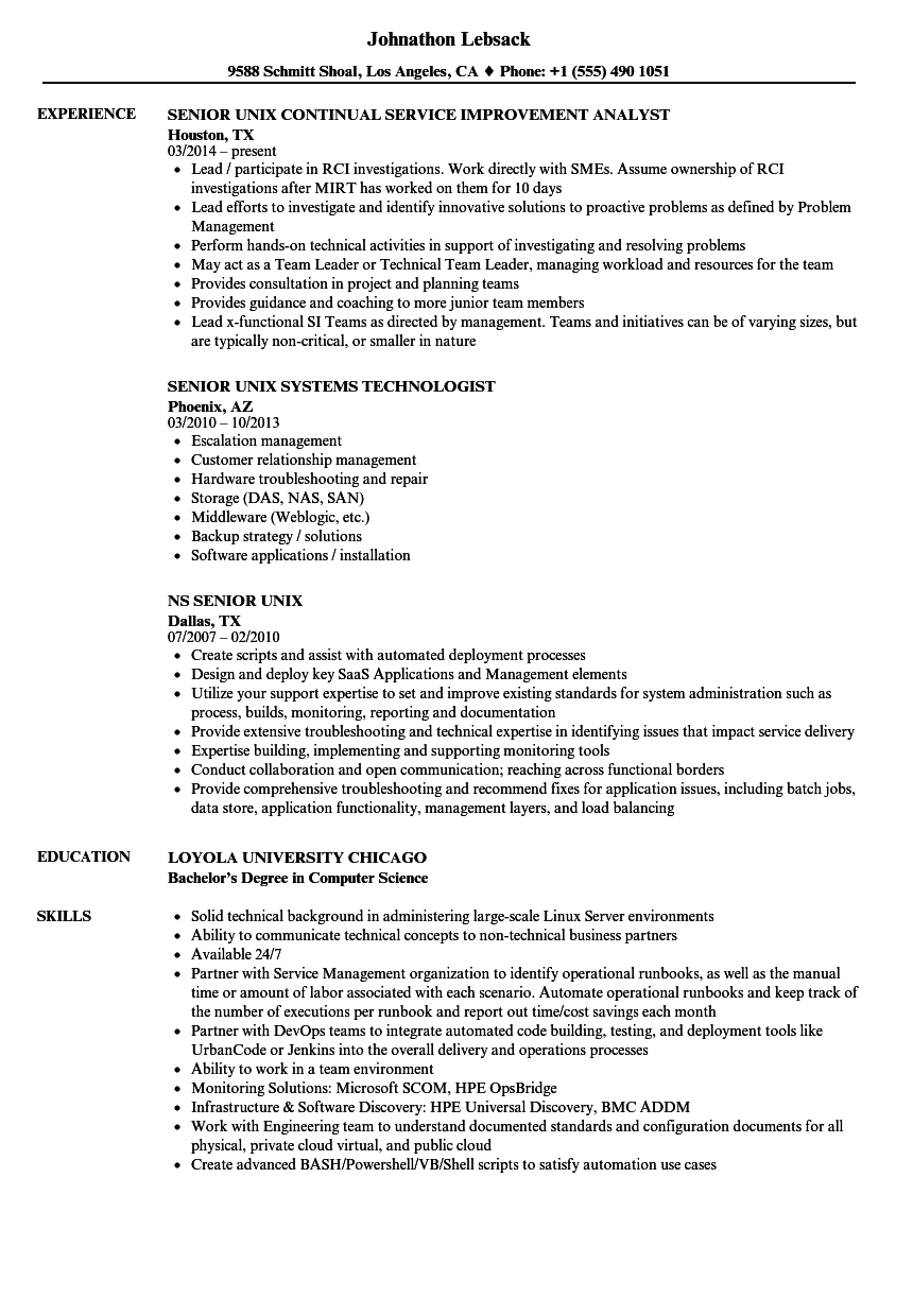 senior unix resume samples