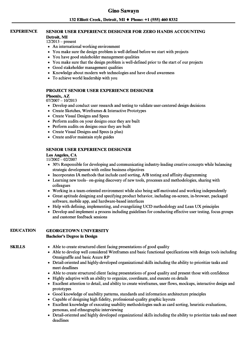 Senior User Experience Designer Resume Samples | Velvet Jobs