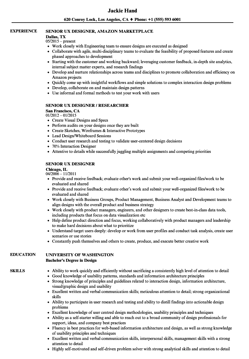 Senior UX Designer Resume Samples | Velvet Jobs