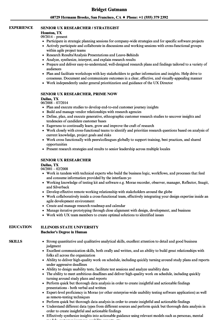 Senior UX Researcher Resume Samples   Velvet Jobs