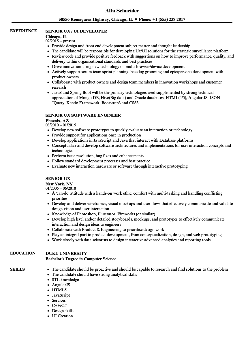 senior ux resume samples