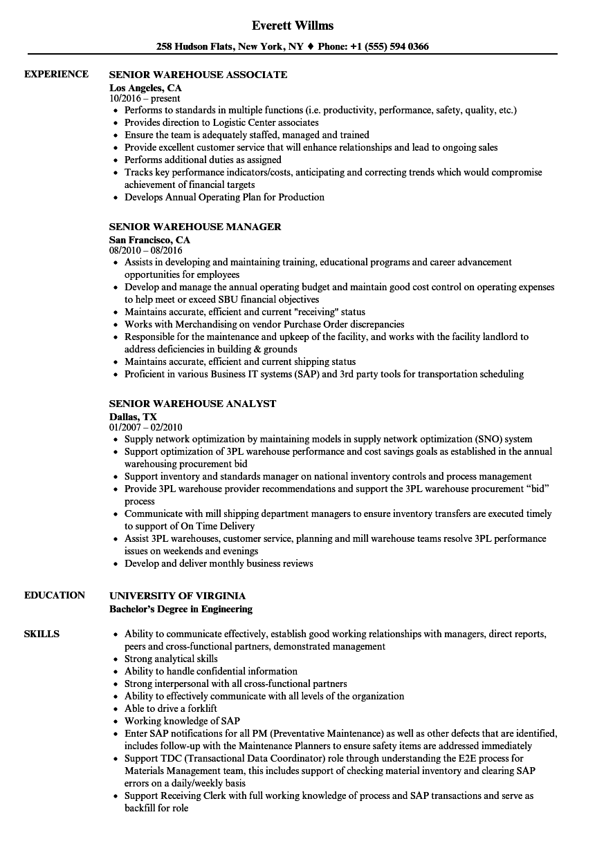 Senior Warehouse Resume Samples Velvet Jobs