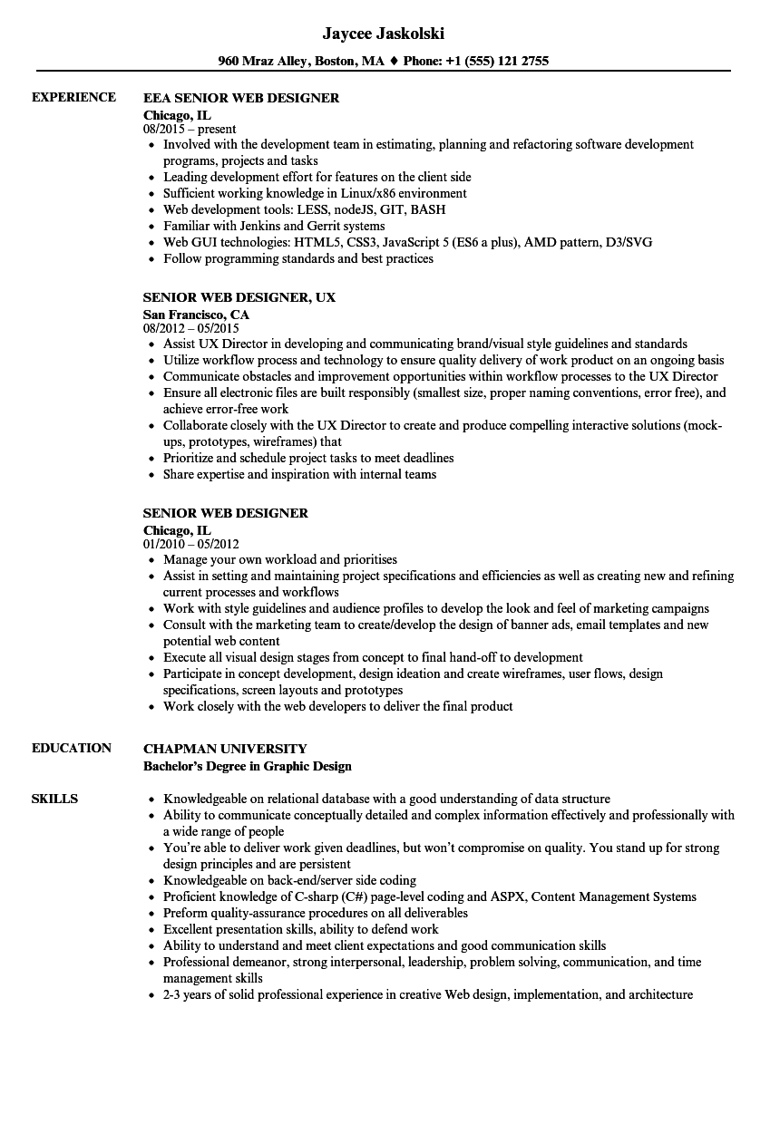 Senior Web Designer Resume Samples | Velvet Jobs