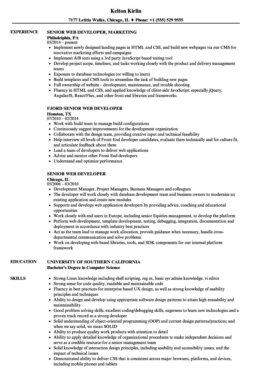 Senior Web Developer Resume Samples | Velvet Jobs