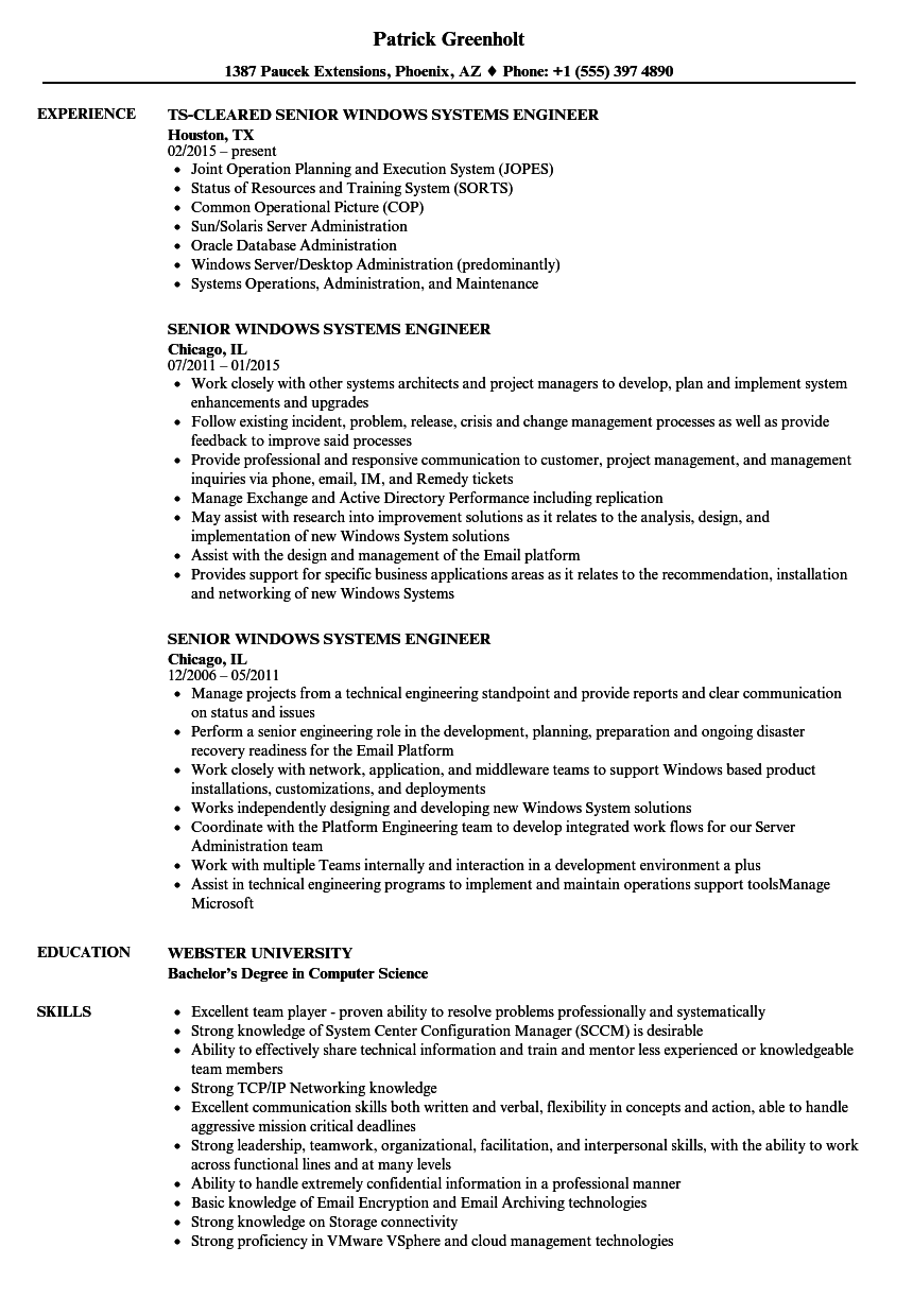 Senior Windows Systems Engineer Resume Samples | Velvet Jobs