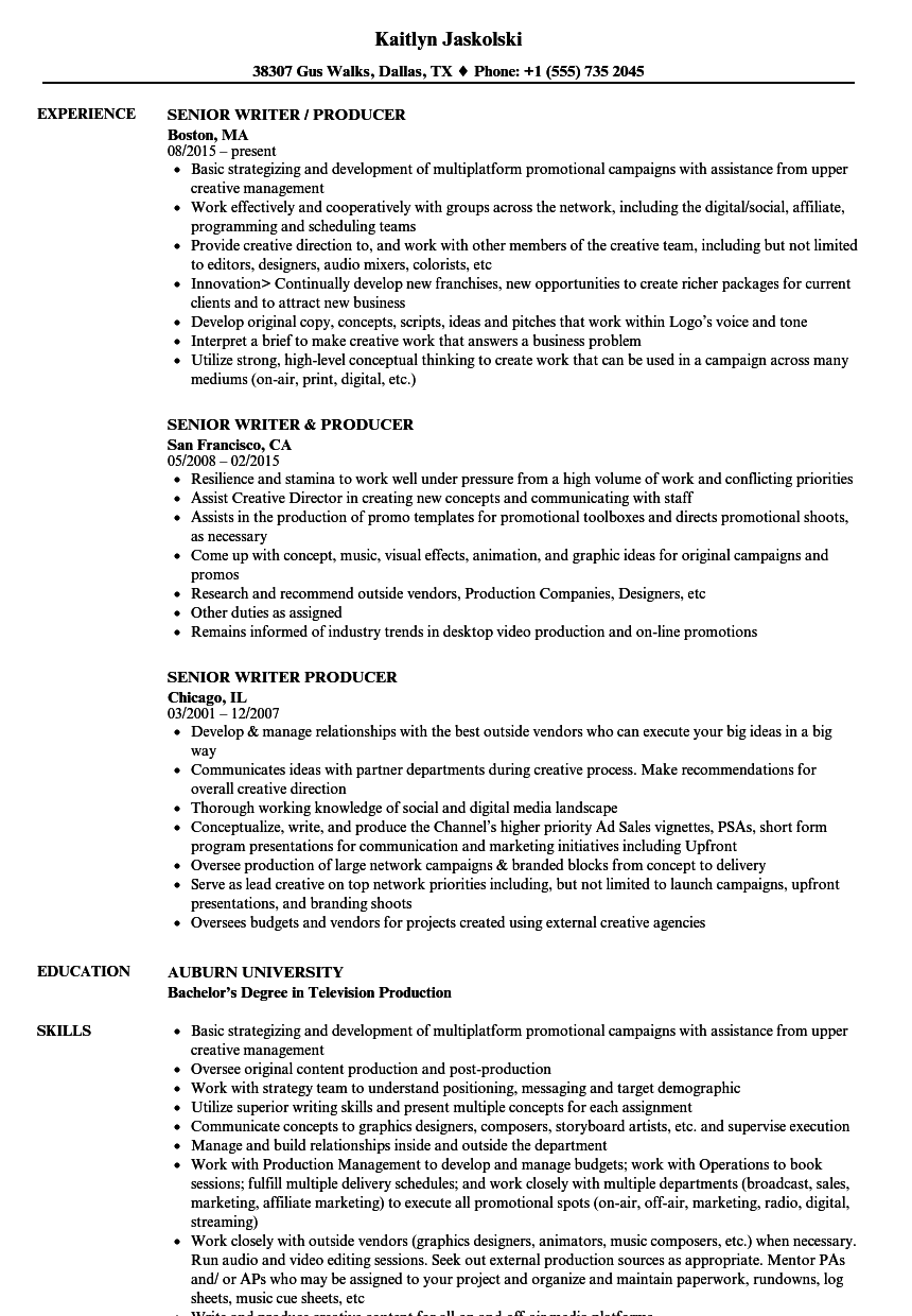 Senior Writer Producer Resume Samples Velvet Jobs