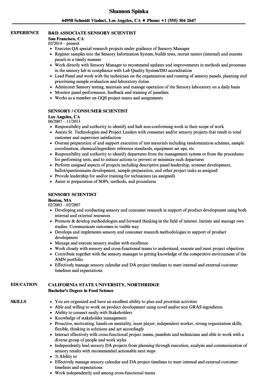 sensory scientist resume samples